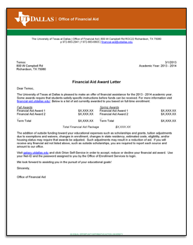 Financial Aid Offer Letter